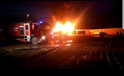 Fire engulfs fuel tanker yard at Kpone