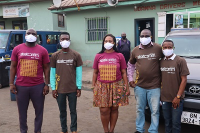 Stratcomm Africa distributes nose masks to commercial drivers in Accra