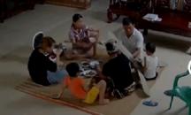 Ceiling fan falls down during family dinner
